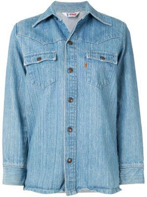 Синий топ на пуговицах с воротником винтажный Fake Alpha Vintage