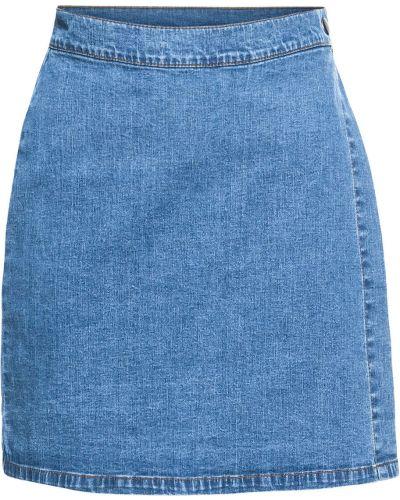Джинсовая юбка с запахом синяя Bonprix