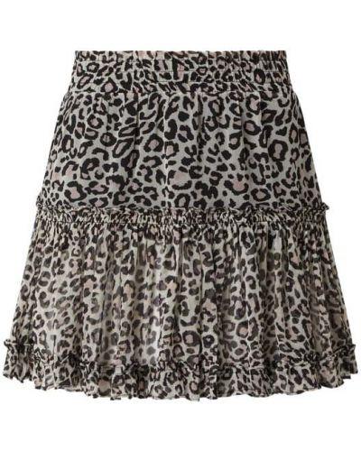Beżowa spódniczka mini z falbanami Guess