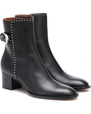 Czarne kozaki skorzane Givenchy