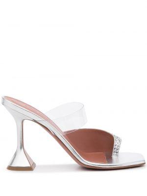 Кожаные сандалии - серебряные Amina Muaddi