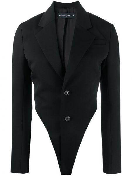 Шерстяной однобортный черный удлиненный пиджак Y/project