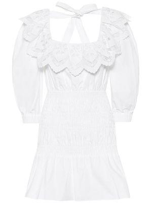 Ватное белое летнее платье из поплина Self-portrait