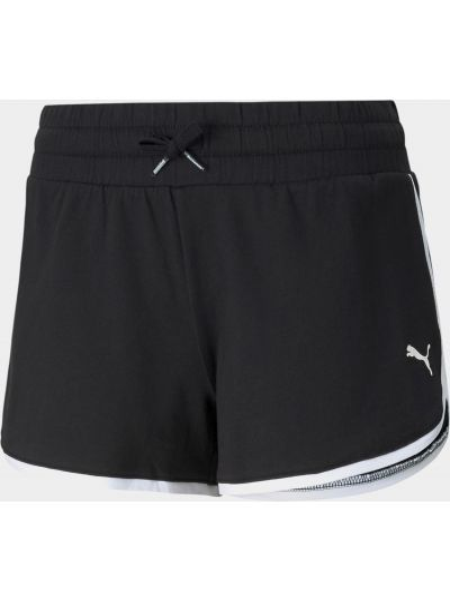 Черные короткие шорты в полоску с поясом Puma
