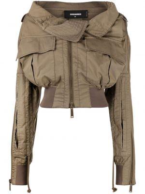 Kurtka pilotka khaki bawełniana z długimi rękawami Dsquared2