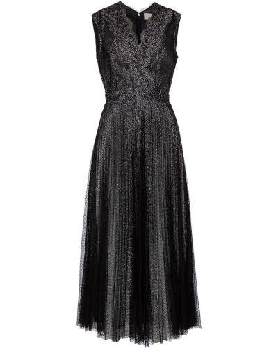 Ażurowy srebro sukienka midi przycięte na sznurowadłach Christopher Kane