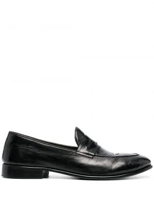Czarne loafers skorzane na niskim obcasie Alberto Fasciani
