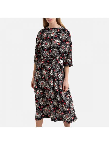 Платье миди винтажная с американской проймой La Redoute
