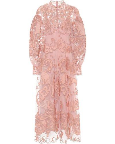 Кружевное платье макси - розовое Zimmermann