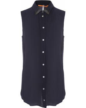Прямая блузка без рукавов с воротником прозрачная на пуговицах Hugo Boss