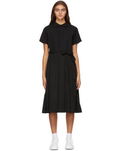Черное плиссированное платье с воротником из габардина Tricot Comme  Des Garçons