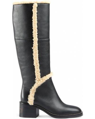 Czarne kozaki na obcasie skorzane Gucci