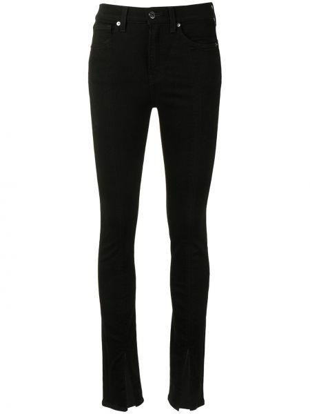 Хлопковые зауженные черные джинсы-скинни с карманами Veronica Beard
