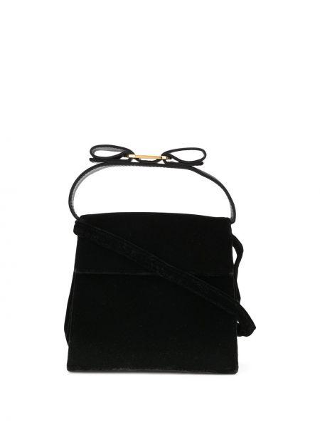 Бархатная черная маленькая сумка круглая на молнии Salvatore Ferragamo Pre-owned