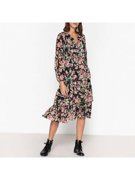 Платье миди с цветочным принтом с V-образным вырезом The Kooples