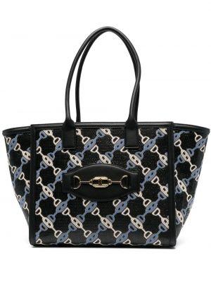 Черная кожаная сумка-тоут на молнии Elisabetta Franchi
