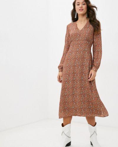 Коричневое прямое платье Trendyol