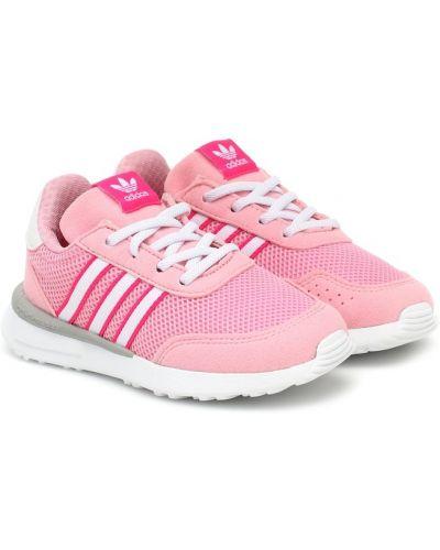 Różowy włókienniczy sneakersy z paskami Adidas Originals Kids