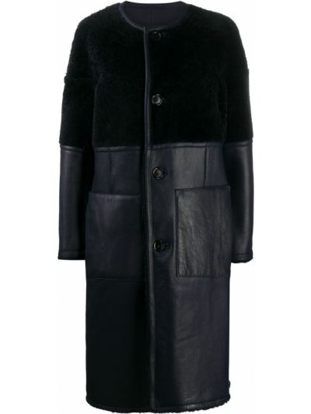 Синее кожаное длинное пальто с карманами Marni