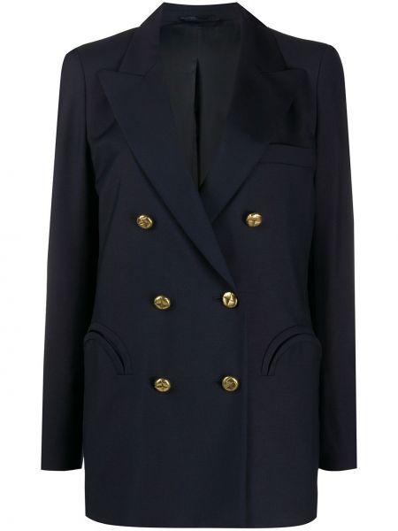 Кашемировая синяя куртка с манжетами на пуговицах Blazé Milano