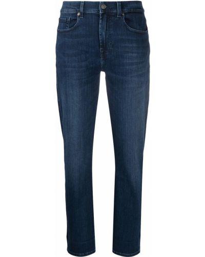 Хлопковые синие джинсы классические стрейч 7 For All Mankind
