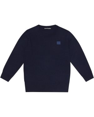 Шерстяной темно-синий свитер Acne Studios Kids