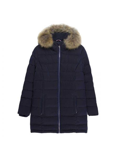 Прямая приталенная теплая синяя стеганая куртка Le Temps Des Cerises