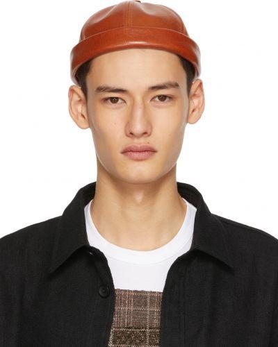Brązowy kapelusz z haftem skórzany Junya Watanabe
