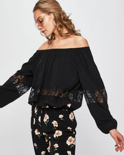 Блузка с открытыми плечами однотонная из вискозы Guess Jeans