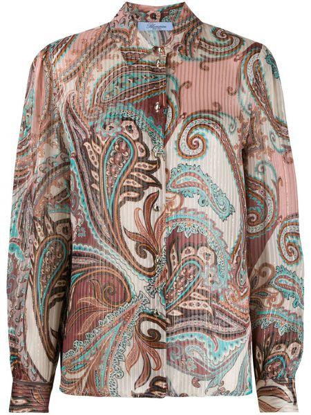 Розовая прямая рубашка с воротником на пуговицах Blumarine