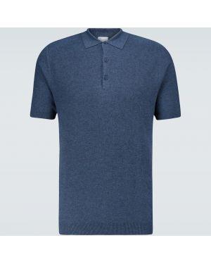 Синяя классическая классическая рубашка с воротником с манжетами Sunspel