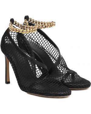Текстильные черные туфли-лодочки с сеткой сетчатые Bottega Veneta