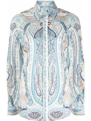 Синяя рубашка с воротником с длинными рукавами Etro