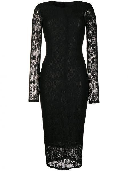 Черное облегающее платье сетчатое с длинными рукавами с сеткой Versace Jeans Couture