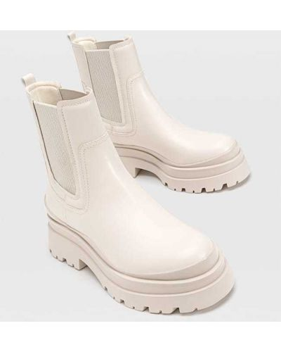 Ботинки на каблуке - бежевые Stradivarius