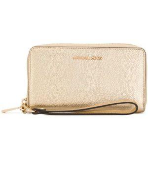 Кожаный кошелек золотой с логотипом Michael Michael Kors