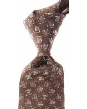 Beżowy krawat z jedwabiu Isaia