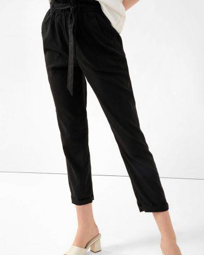 Czarne spodnie z wysokim stanem materiałowe Orsay
