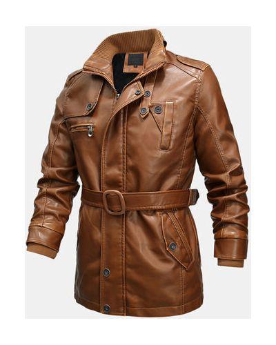 Теплая желтая кожаная длинная куртка Newchic