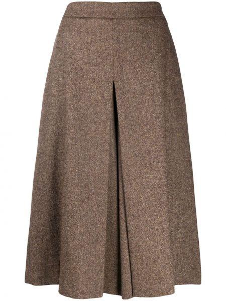 Шелковая юбка миди - коричневая Twin-set