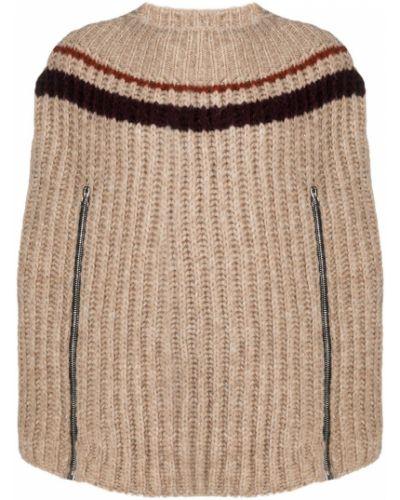Beżowy z rękawami wełniany peleryna z paskami Raf Simons