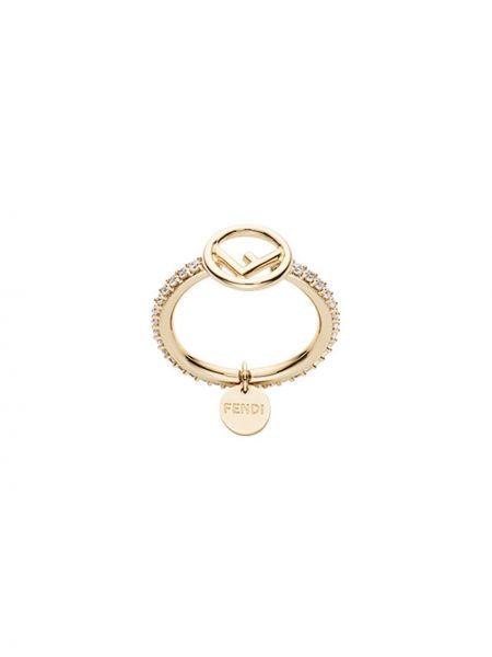 Кольцо с цирконием - желтое Fendi