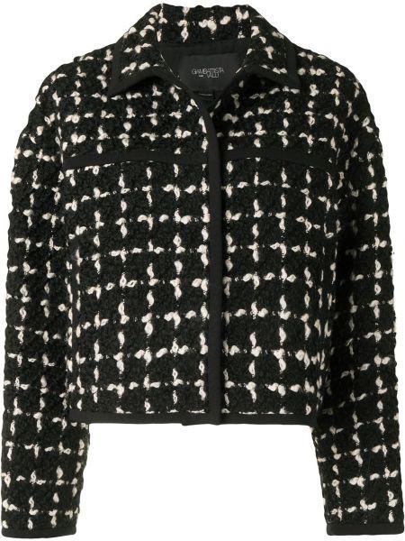 Шерстяной черный классический пиджак в клетку Giambattista Valli
