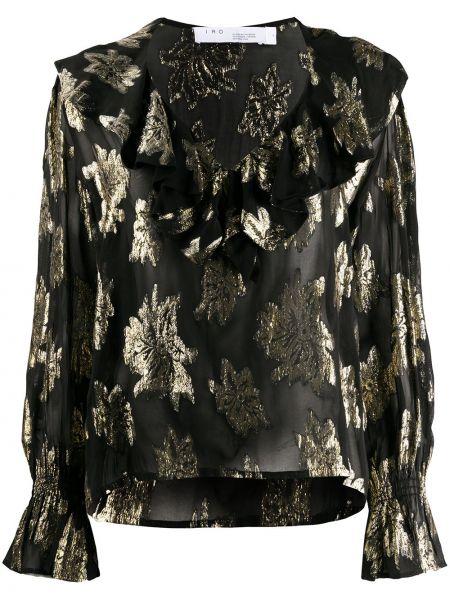 Черная блузка со вставками с вырезом Iro