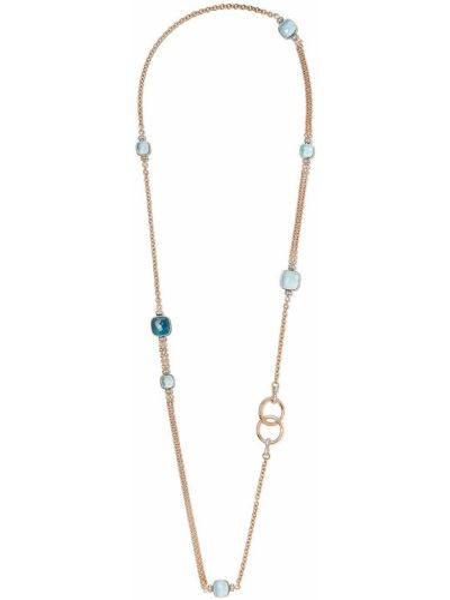 Niebieski złoty naszyjnik z diamentem Pomellato