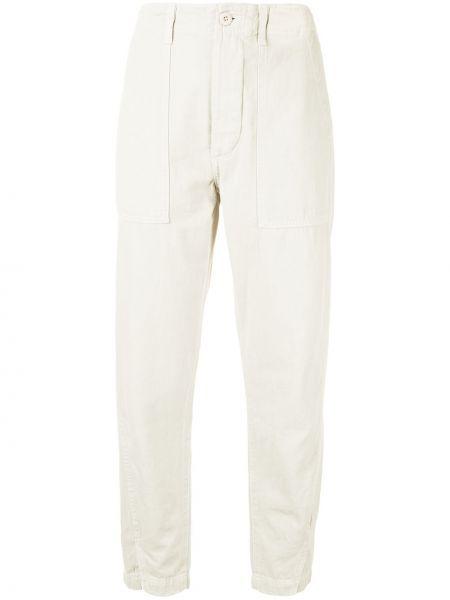 Хлопковые зауженные белые брюки Amo