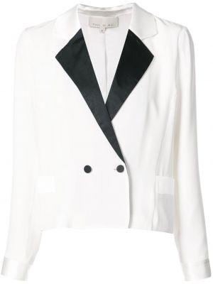 Шелковый белый пиджак двубортный Fleur Du Mal