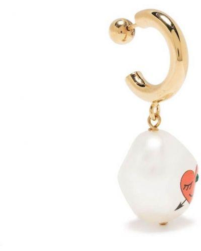 Złote kolczyki koła perły Saf Safu