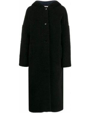 Однобортное черное длинное пальто с капюшоном Inès & Maréchal