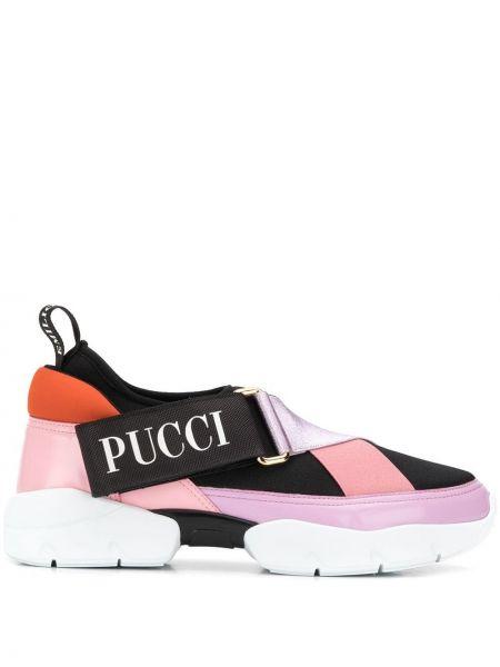 Czarne sneakersy skorzane miejskie Emilio Pucci